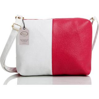 Mammon Women's Pink & White Sling Bag (slg-pw, Size-11x8 inch)