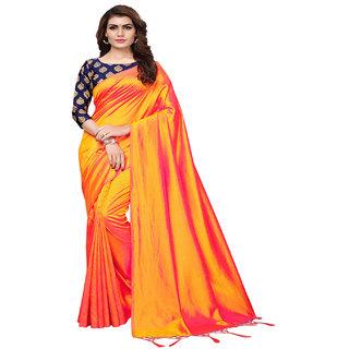 7017cf872f39af Indian Beauty Women s Orange Color Sana Silk Plain Saree With Embellished  Blouse Saree (Orange Free
