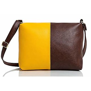 Mammon Women's Brown & Yellow Sling Bag(slg-yt, Size-10x8 inch)