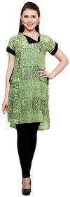 Cotton Printed Green Kurti for Girls