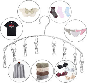 Kawachi Stainless Steel Laundry Drying Rack, 8 Clips Clothes Socks Dryer Socks, Undergarments, Towels, Scarf, Baby Cloth