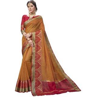 Aagaman Dark Yellow Cotton Silk Festival Wear Viscose Design Saree