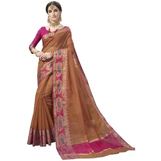 Aagaman Light Brown Cotton Silk Festival Wear Viscose Design Saree