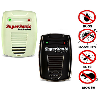 PACK OF 2 MULTI COLOR SUPER ULTRA SONIC INSECTS AND PEST REPELLENT MACHINE (WHITE AND BLACK)