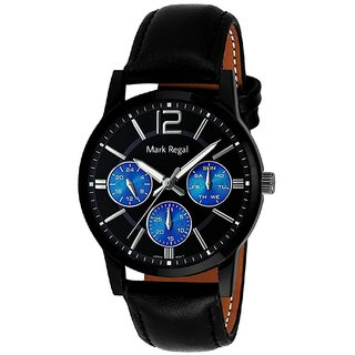 Mark Regal Round Black Dail Black Leather Strap Analog Watch For Men