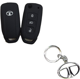 CP BIGBASKET Silicone Flip Key Cover For Tata Safari Storme / Zest / Bolt / Tiago / Zica Pack of two(2) With 1 key Chain