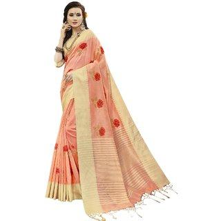 Aagaman Peach Art Silk Festival Wear Embroidered Saree