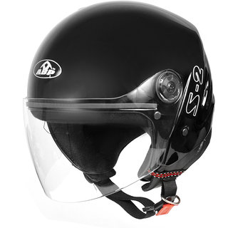 ABP S-2 Leather Finish Motorbike Helmet plain black (glossy)