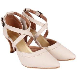 Do Bhai Women's Cream Heels