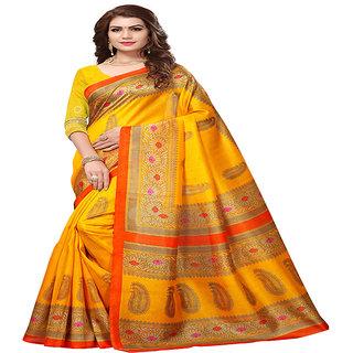 Linaro Lifestyles Women's Bhagalpuri Cotton Silk Saree With Blouce Piece