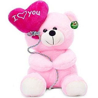 stuffed toy cute and soft balloon teddy bear for girls and boys 25 cm pink