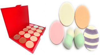 ADS Ultimate 15 Shades Concealer  (Multi Color) nd powder puff 6 piecee
