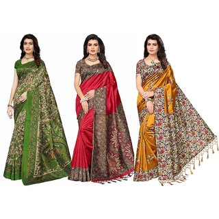 fd1ff616e2fd3 Indian Beauty Women s Multicolor Art Silk Saree With Blouse Piece Pack of 3