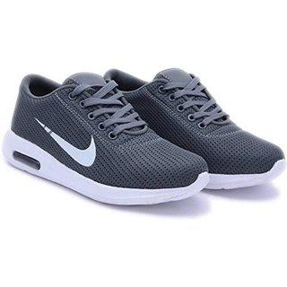 Purport Men's Grey Mesh Sports Shoes