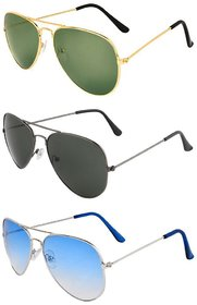 Ivonne Mens Women Combo Of 3 Multicolor Unisex Aviator Style Sunglasses Uv