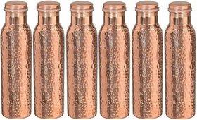 Handmade Joint Free Leak Proof Copper Water Bottle 1000 ml (set of 5)