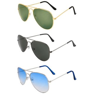 Ivonne Mens Women Combo Of 3 Multicolor Unisex Aviator Style Sunglasses Uv