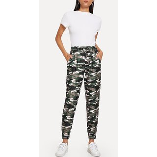 Code Yellow Women's Camo Print Drawstring Waist Casual Pants Yoga Gym Wear