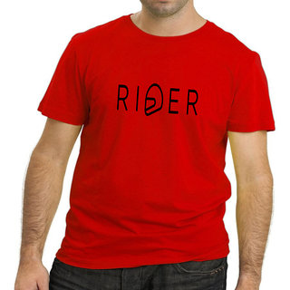 HEYUZE 100% Cotton Half Sleeve Male Men Round Neck Red T Shirt with Rider Quote Design