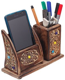 Desi Karigar Wooden Pen Mobile Stationery Stand For Home Office -WoodenMobilePenStand