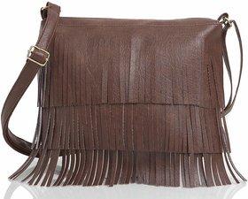 Mammon Plain Tan PU Zipper Casual Women's Sling Bag