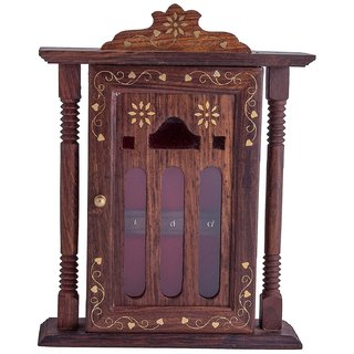 Desi Karigar Brown Handmade Wall Decorative Wooden Key Holder / Stand / Cabinet