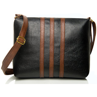 Mammon Striped Black & Brown PU Zipper Casual Women's Sling bag