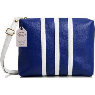 Mammon Casual Plain Blue & White PU Zipper Women's Sling Bag