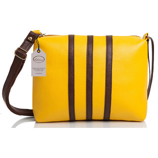 Mammon Casual Plain Yellow PU Zipper Women's Sling Bag