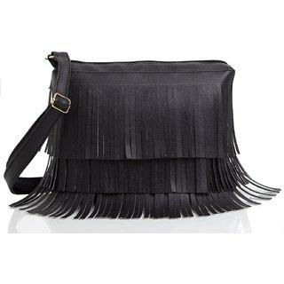 Mammon Women's Cute Sling Bag(slg-jhalar-black, Size-11x8 inch)