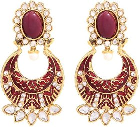 GoldNera Pearl Kundan Alloy Drop Earring