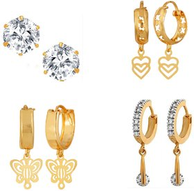 Goldnera Classic Traditional Bollywood Style Indian 4 Pairs Of Ad Earrings Sets Including Solitaire Studs For Girls/Kids/Women