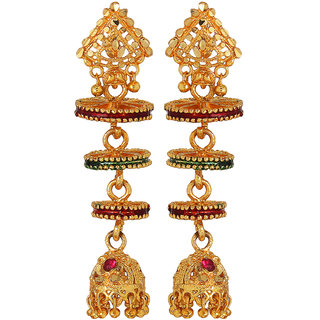 Goldnera Gold Plated Cone Shaped South Indian Touch Jhumki For Women