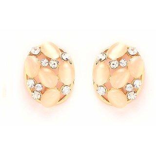GoldNera Designer Womens Silver Gold Plated Clear Crystal Rhinestone Ear Stud