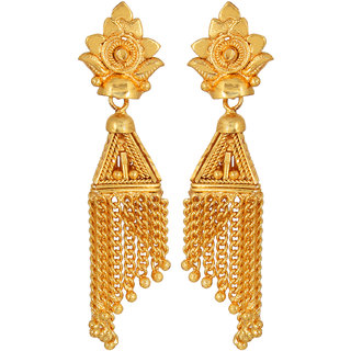 GoldNera Gold Plated Gold Alloy Jhumkis With Hanging Chain For Girls/Women