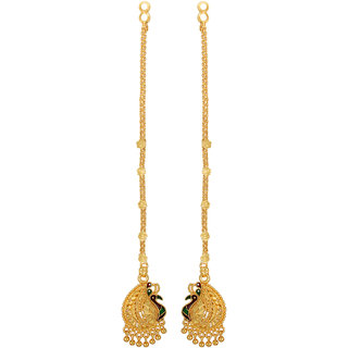 GoldNera South Indian Style Mayur Designed Gold Plated Kaan chain earrings for girls