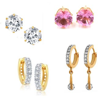 Goldnera Classic Bollywood Ethnic Set Of 4 Studs Earring In American Diamonds For  Girls/Kids