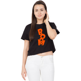 69134395278f6 Buy Cliths Women s Orange Boom Text Printed Cotton Regular Fit Crop Top  Online - Get 45% Off