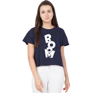 8055378bfbca Buy Cliths Women s White Boom Text Printed Round Neck Crop Top ...