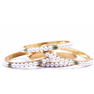 GoldNera White pearl Ethnic Set of 4 Bangles 2.6 Size
