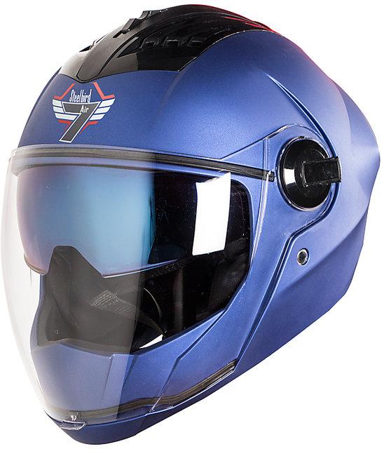 Steelbird SBA-2 7WINGS Dual Visor Helmet Inner Chrome Visor/Outer Plain  Visor (Medium 580 MM, Matt Yamaha Blue)