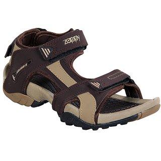 Zappy Men Brown  Cream Floater Sandals