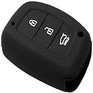 Silicon Car Remote Key Cover For Hyundai Creta (1Pc) Black
