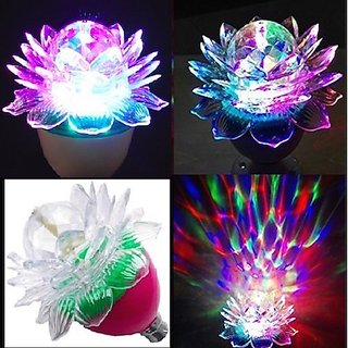 Multicolor  360 Degree LED Crystal Lotus Rotating Bulb for Decoration  Disco Function. B22 Holder - 1 Pc