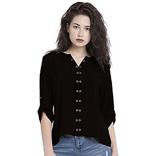 Nakoda Women'S Casual Plain Black Rayon Western Top