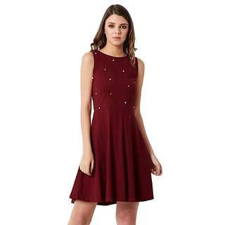 Miss Chase Women s Maroon Round Neck Sleeveless Cotton Solid Pearl  Detailing Cut-Out Mini Skater 4e2e95171