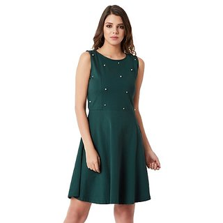 4b222e6fa6 Miss Chase Women s Green Round Neck Sleeveless Cotton Solid Pearl Detailing  Cut-Out Mini Skater