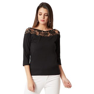 2929ea220b2cde Buy Miss Chase Women s Black Boat Neck 3 4 Sleeve Cotton Solid Lace And  Pearl Detailing Top Online - Get 64% Off