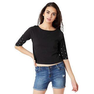918436e13a3dc Miss Chase Women s Black Boat Neck Pearl 3 4 Sleeves Casual Buttoned Crop  Top