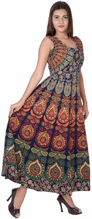 Jaipuri Printed Cotton Womens Maxi Long Dress with Attached Jacket Free Size Upto 44XXL